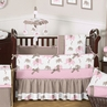 Pink and Taupe Mod Elephant Baby Bedding - 9pc Crib Set by Sweet Jojo Designs