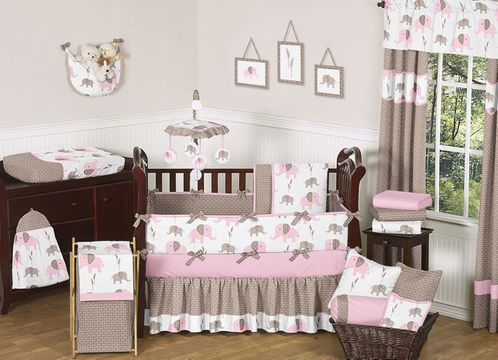 Pink and Taupe Mod Elephant Baby Bedding - 9pc Crib Set by Sweet Jojo Designs - Click to enlarge