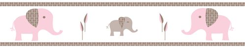 Pink and Taupe Mod Elephant Children and Kids Modern Wall Border by Sweet Jojo Designs - Click to enlarge