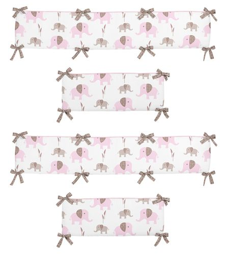 Pink and Taupe Mod Elephant Collection Crib Bumper by Sweet Jojo Designs - Click to enlarge