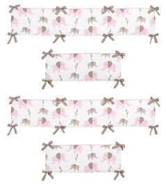 Pink and Taupe Mod Elephant Collection Crib Bumper by Sweet Jojo Designs