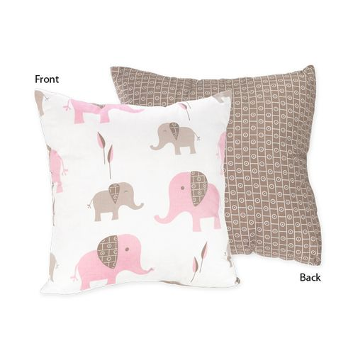 Pink and Taupe Mod Elephant Decorative Accent Throw Pillow by Sweet Jojo Designs - Click to enlarge