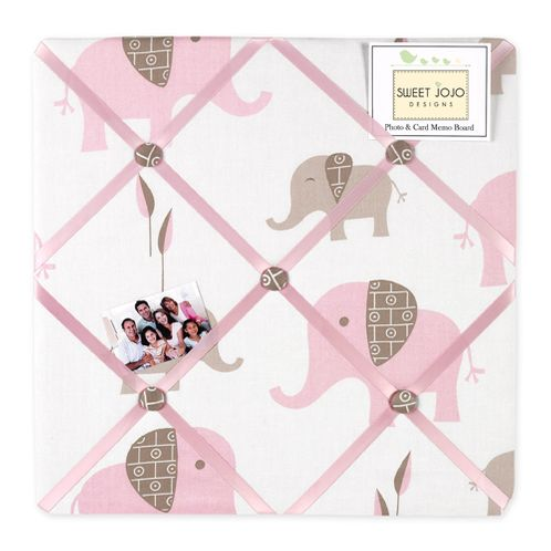 Pink and Taupe Mod Elephant Fabric Memory/Memo Photo Bulletin Board by Sweet Jojo Designs - Click to enlarge