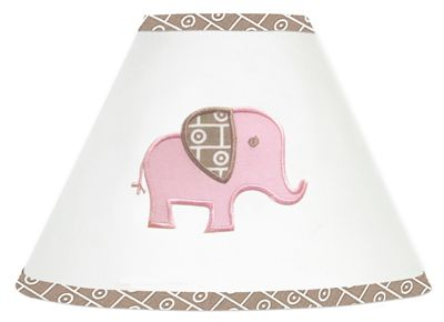 Pink and Taupe Mod Elephant Lamp Shade by Sweet Jojo Designs - Click to enlarge