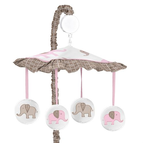 Pink and Taupe Mod Elephant Musical Baby Crib Mobile by Sweet Jojo Designs - Click to enlarge