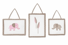 Pink and Taupe Mod Elephant Wall Hanging Accessories by Sweet Jojo Designs