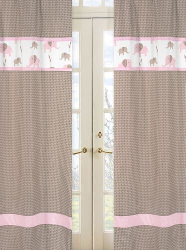 Pink and Taupe Mod Elephant Window Treatment Panels by Sweet Jojo Designs - Set of 2 - Click to enlarge