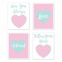 Pink and Turquoise Polka Dot Hearts Wall Art Prints Room Decor for Baby, Nursery, and Kids for Sklyar Collection by Sweet Jojo Designs - Set of 4 - Love Adored