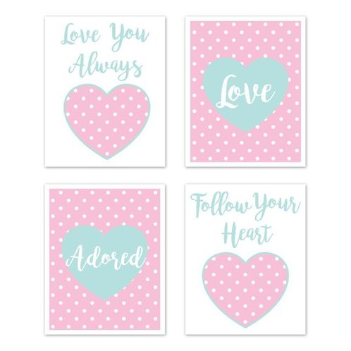 Pink and Turquoise Polka Dot Hearts Wall Art Prints Room Decor for Baby, Nursery, and Kids for Sklyar Collection by Sweet Jojo Designs - Set of 4 - Love Adored - Click to enlarge