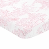 Pink and White Baby Fitted Mini Portable Crib Sheet for French Toile Collection by Sweet Jojo Designs
