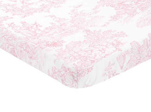 Pink and White Baby Fitted Mini Portable Crib Sheet for French Toile Collection by Sweet Jojo Designs - Click to enlarge