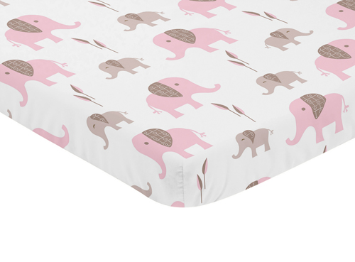 Pink And White Baby Fitted Mini Portable Crib Sheet For Mod Elephant Collection By Sweet Jojo Designs Only 19 99