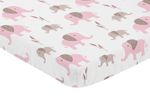 Pink and White Baby Fitted Mini Portable Crib Sheet for Mod Elephant Collection by Sweet Jojo Designs - Click to enlarge