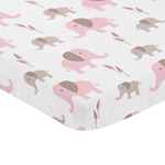 Pink and White Baby Fitted Mini Portable Crib Sheet for Mod Elephant Collection by Sweet Jojo Designs