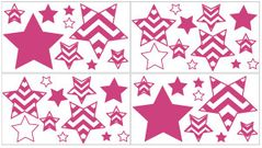 Hot Pink and White Chevron Zig Zag Peel and Stick Wall Decal Stickers Art Nursery Decor by Sweet Jojo Designs - Set of 4 Sheets