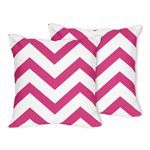Hot Pink and White Chevron Zig Zag Decorative Accent Throw Pillows - Set of 2