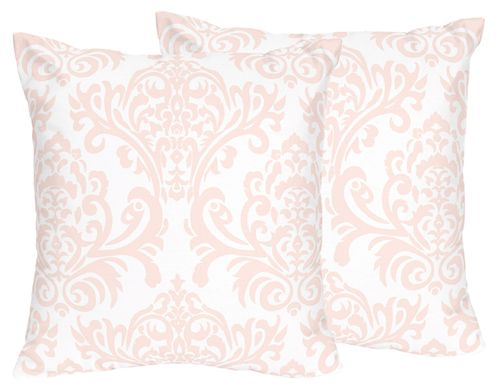 Pink and White Damask Decorative Accent Throw Pillows for Amelia Bedding by Sweet Jojo Designs - Set of 2 - Click to enlarge