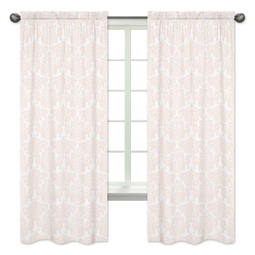 Pink and White Damask Window Treatment Panels for Amelia Collection - Set of 2 - Click to enlarge