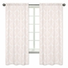Pink and White Damask Window Treatment Panels for Amelia Collection - Set of 2