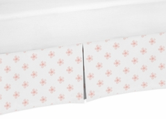 Pink and White Flower Blossom Girl Baby Crib Bed Skirt Nursery Dust Ruffle by Sweet Jojo Designs - Blush Shabby Chic Farmhouse Daisy for Burgundy Watercolor Floral Collection