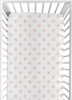 Pink and White Flower Blossom Girl Fitted Crib Sheet Baby or Toddler Bed Nursery by Sweet Jojo Designs - Blush Shabby Chic Farmhouse Daisy for Burgundy Watercolor Floral Collection