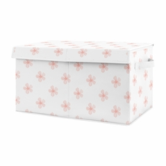 Pink and White Flower Blossom Girl Small Fabric Toy Bin Storage Box Chest For Baby Nursery or Kids Room by Sweet Jojo Designs - Blush Shabby Chic Farmhouse Daisy for Burgundy Watercolor Floral Collection
