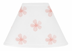 Pink and White Flower Blossom Lamp Shade by Sweet Jojo Designs - Blush Shabby Chic Farmhouse Daisy for Burgundy Watercolor Floral Collection