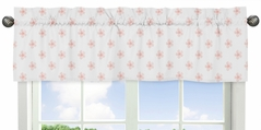 Pink and White Flower Blossom Window Treatment Valance by Sweet Jojo Designs - Blush Shabby Chic Farmhouse Daisy for Burgundy Watercolor Floral Collection