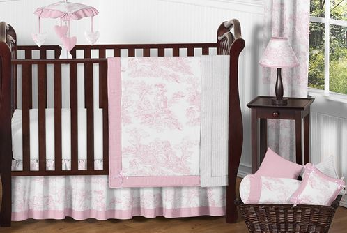 Pink and White French Toile Baby Bedding - 11pc Crib Set - Click to enlarge