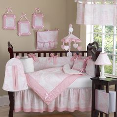 Pink and White French Toile Baby Bedding - 9 pc Crib Set