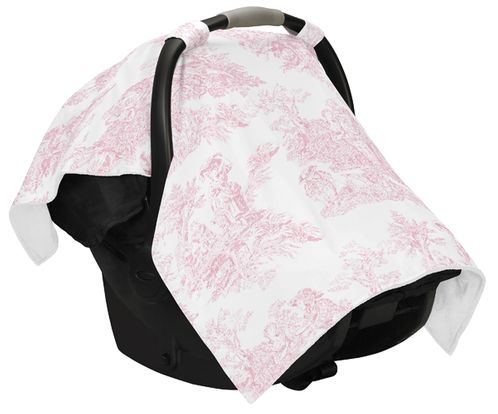 Pink And White French Toile Baby Infant Car Seat Carrier Stroller Cover By Sweet Jojo Designs Only 9 99
