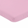 Pink and White Polka Dot Baby Fitted Mini Portable Crib Sheet for Skylar Collection by Sweet Jojo Designs