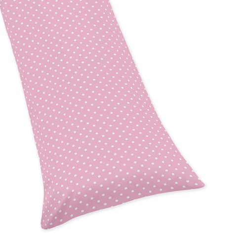 Pink and White Polka Dot Full Length Double Zippered Body Pillow Case Cover for Sweet Jojo Designs Skylar Sets - Click to enlarge