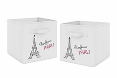 Pink, Black and White Eiffel Tower Organizer Storage Bins for Paris Collection by Sweet Jojo Designs - Set of 2