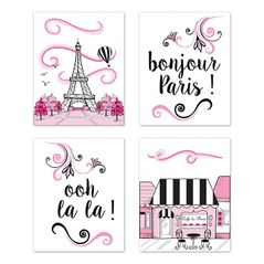 Pink, Black and White Eiffel Tower Wall Art Prints Room Decor for Baby, Nursery, and Kids for Paris Collection by Sweet Jojo Designs - Set of 4 - French Cafe