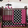 Pink, Black and White Hot Dot Baby Bedding by Sweet Jojo Designs - 11pc Crib Set