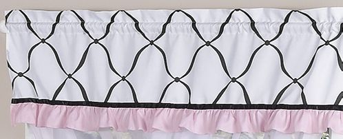 Pink, Black and White Princess Girls Window Valance by Sweet Jojo Designs - Click to enlarge