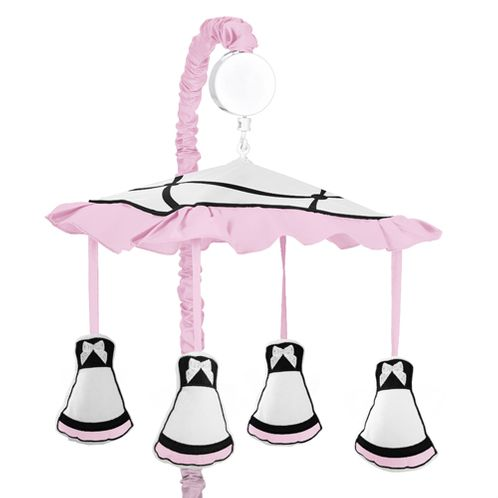 Pink, Black and White Princess Musical Baby Crib Mobile by Sweet Jojo Designs - Click to enlarge