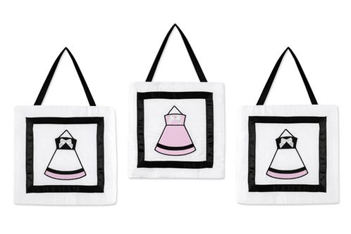 Pink, Black and White Princess Wall Hanging Accessories by Sweet Jojo Designs - Click to enlarge