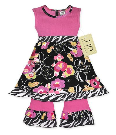 Pink, Black, Floral and Zebra Baby Girls 2pc Set or Dress by Sweet Jojo Designs - Click to enlarge