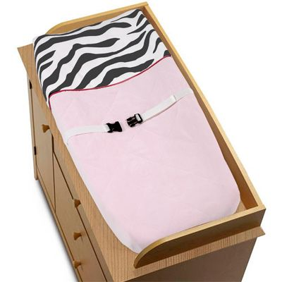 Pink, Black & White Funky Zebra Changing Pad Cover by Sweet Jojo Designs - Click to enlarge