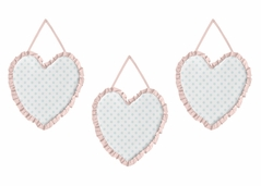 Pink, Blue and White Polka Dot Wall Hanging Decor by Sweet Jojo Designs - Set of 3 - Watercolor Floral Shabby Chic Collection