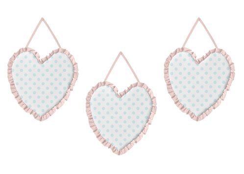 Pink, Blue and White Polka Dot Wall Hanging Decor by Sweet Jojo Designs - Set of 3 - Watercolor Floral Shabby Chic Collection - Click to enlarge