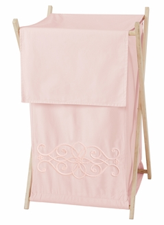 Pink Boho Bohemian Baby Kid Clothes Laundry Hamper by Sweet Jojo Designs - Solid Color Blush Shabby Chic Princess Luxurious Luxury Elegant Vintage Designer Boutique Victorian Cotton Embroidered Medallion Fringe Tassle