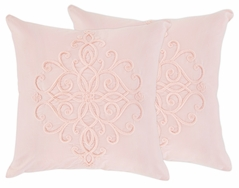 Pink Boho Bohemian Decorative Accent Throw Pillows by Sweet Jojo Designs - Set of 2 - Solid Color Blush Shabby Chic Princess Luxurious Luxury Elegant Vintage Designer Boutique Victorian Cotton Embroidered Medallion Fringe Tassle
