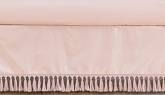 Pink Boho Bohemian Girl Baby Nursery Crib Bed Skirt Dust Ruffle by Sweet Jojo Designs - Solid Color Blush Shabby Chic Princess Luxurious Luxury Elegant Vintage Designer Boutique Victorian Cotton Fringe Tassle