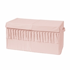 Pink Boho Bohemian Girl Small Fabric Toy Bin Storage Box Chest For Baby Nursery or Kids Room by Sweet Jojo Designs - Solid Color Blush Shabby Chic Luxurious Luxury Elegant Vintage Designer Boutique Tassel Fringe