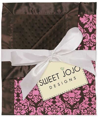 Pink & Brown Damask Print Minky Dot Chenille and Satin Baby Blanket by Sweet Jojo Designs - Click to enlarge