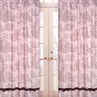 Pink Brown Toile and Polka Dot Window Treatment Panels - Set of 2