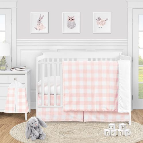 Pink Buffalo Plaid Check Baby Girl Nursery Crib Bedding Set by Sweet Jojo Designs - 4 pieces - Blush and White Shabby Chic Woodland Rustic Country Farmhouse - Click to enlarge